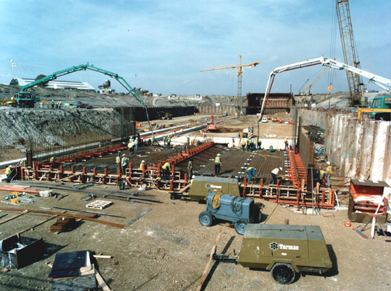 August 1993 Pouring Concrete Floor of First Tunnel Section in the Casting Basin