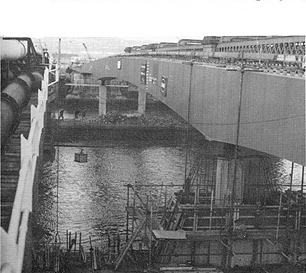 February 1969 The construction of the Rochester Pier in the foreground with the temporary Strood Pier in the background.