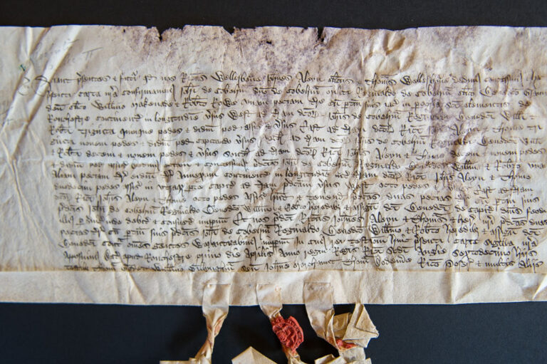 A conveyance of land in the parish of St Clements, Rochester dated 1 April 1393. It is thought that it is on this land that the chapel was built by Sir John de Cobham, in the same year.