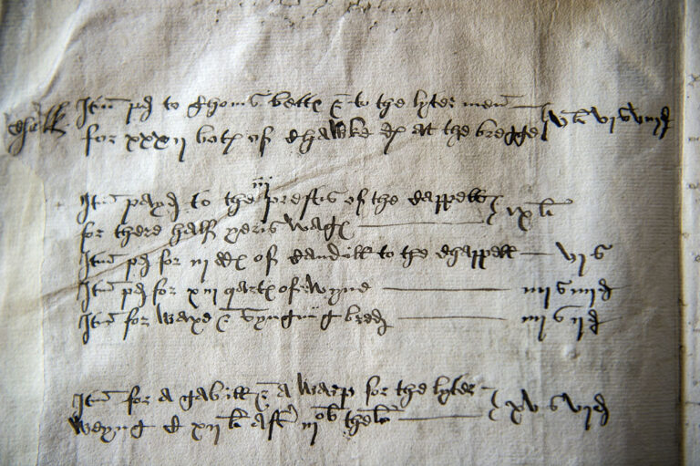 (Second paragraph) entry from paymasters account book of 1546 showing amounts paid for the half year wages of the chapel priests, and also reference to purchase of wine, candles and bread. Soon after this the Chantry chapels in England were to close as the Reformation continued to curtail their activities.