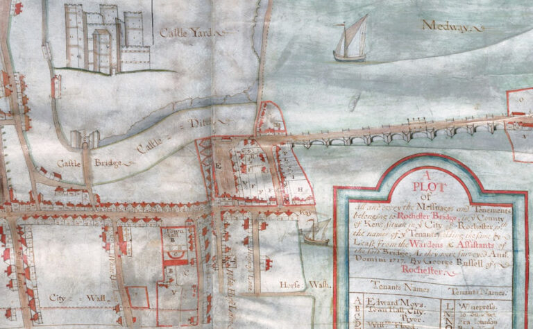 An extract from George Russell's map of Rochester 1717 showing the location of the medieval bridge.