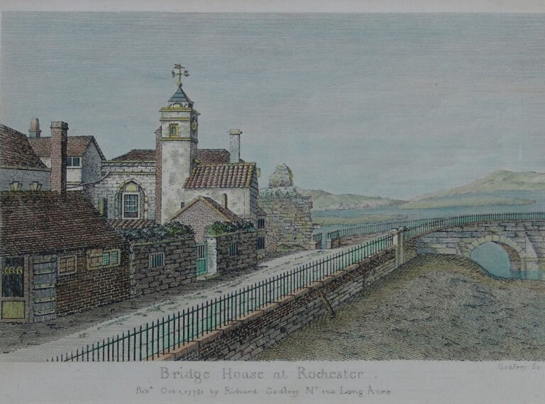 A watercolour of the 'Bridge House' from 1778. The chapel forms part of this building includes a frontage to the chapel built in 1735, in which the bridge records are said to have been stored.