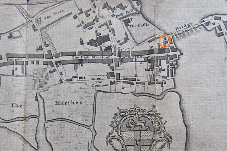 Part of a map from a printed history of Rochester, 1772. The map key shows the location of various buildings including the chapel (see 'z' within the orange circle).
