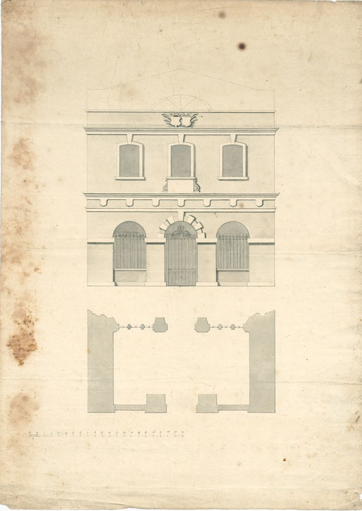 This plan and elevation of the new porch c.1735, shows where the seven shields, coat of arms and stone plaque would have been positioned on the front of the building. These items can now all be seen inside the chapel itself.