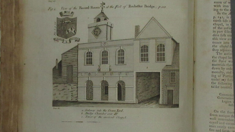 An illustration of the chapel frontage and Bridge Office which appears in John Thorpe's 'Custumale Roffense' published in 1788.