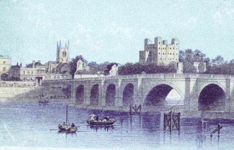 Print showing the medieval bridge and the bridge chapel and office in the background, dating from the early 19th century.