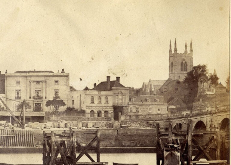 Photograph taken during demolition of the medieval bridge c.1856.