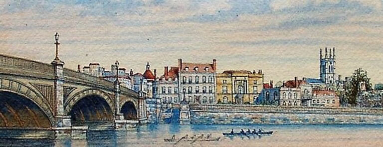 Watercolour showing the bridge and esplanade. The chapel can be seen with its 'frontage', forming part of the old Bridge Chamber/office. The painting dates from c.1870.
