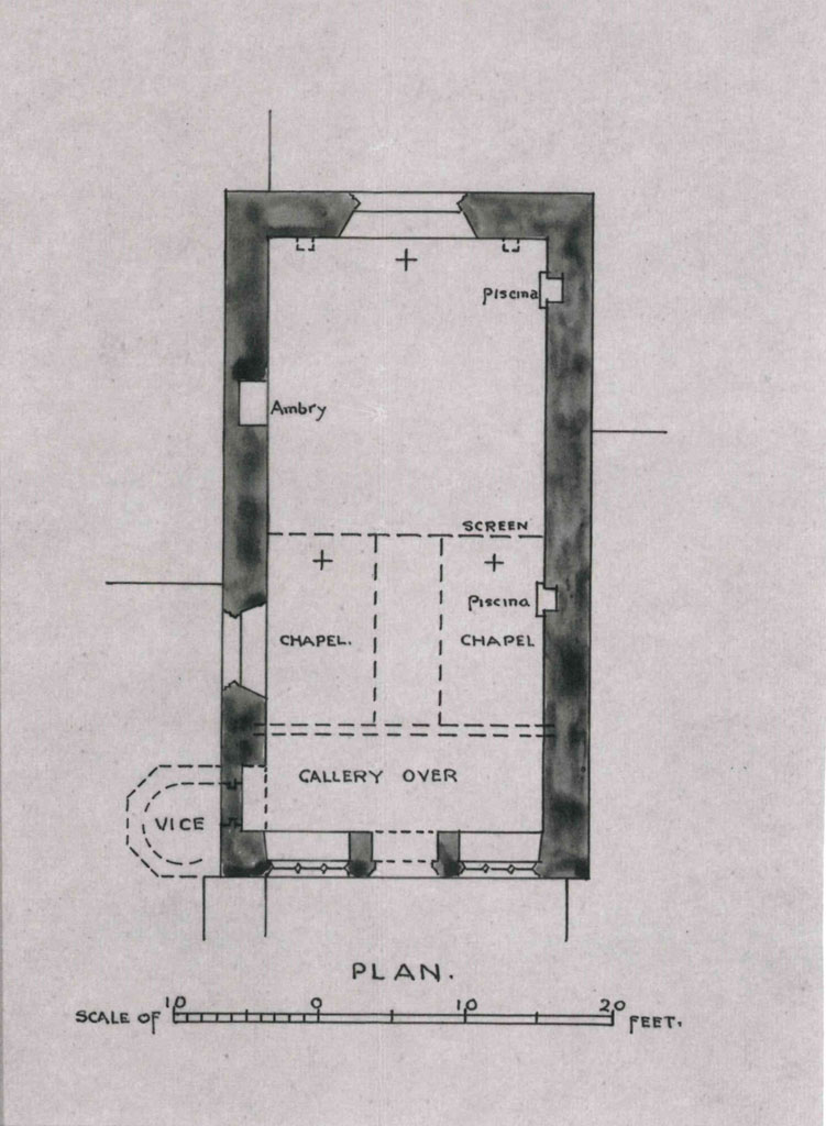 In November 1912, Harald Brakspear, architect, ARIBA surveyed and wrote a report on the ruined chapel, this plan appears in this report and clearly shows the location of the aumbry, piscinas and where the rood screen would have been located. The structure shown as a 'vice' is an architectural term for a medieval spiral staircase. This staircase would have been encased by the clocktower which can be seen on 18th century illustrations of the Bridge House/Chamber. The outline of the doorway that led on to the vice is still apparent in the chapel. The chapel had three altars – Brakspear denotes these with a cross. These were dedicated to the Holy Trinity, Blessed Virgin Mary and All Saints.